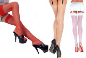 Leg Avenue Plain Top 15 Denier Seamed Stockings, Red, White or Nude